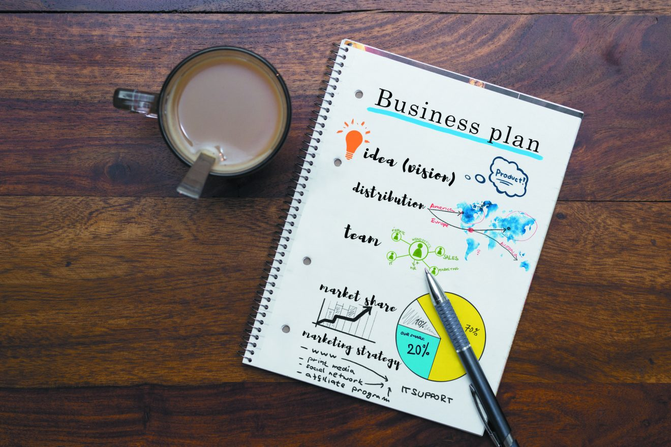 business plan notes on table