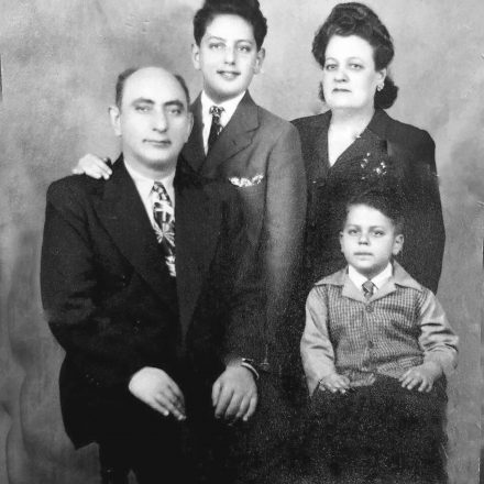 The Gold family, 1946: Morris and Hilda Gold with sons Kalman (standing) and Ed.