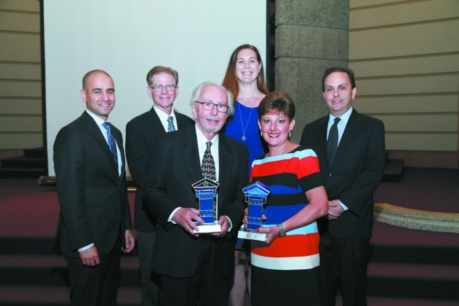 JCRC/AJC Executive Director David Kurzmann; speaker, the Hon. Steven Rhodes; JCRC/AJC President Alicia B. Chandler; Mark Rubenfire; and (front center) 2018 Activist Award honorees Dr. Melvyn Rubenfire and Karen Rubenfire, who promote health and well-being of Detroit's children through Project Healthy Community. They were honored May 31 at a dinner at Adat Shalom Synagogue in Farmington Hills.