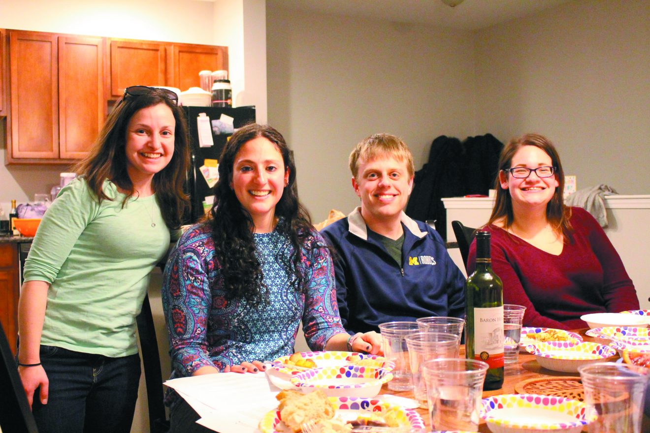 At a Mosaic United-funded Knead To Know cooking program: Joelle Abramowitz of Ann Arbor, Reva Berman of Farmington Hills and U-M students Kevin Lieberman of Potomac, Md., and Genna Miller of Langhorne, Pa.