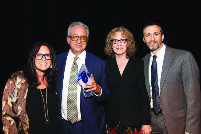 Gala co-chair Shari Kaufman of Orchard Lake; former Federation CEO and honoree Robert Aronson, who played an instrumental role in securing funding for the school; Gala co-chair Nancy Grosfeld of Bloomfield Hills; and FJA Head of School Azaryah Cohen