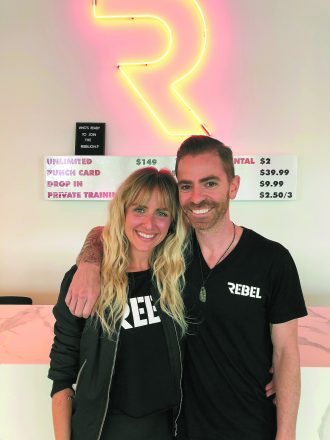Michelle Landry and Noah Dorfman of Rebel Fitness boxing studio