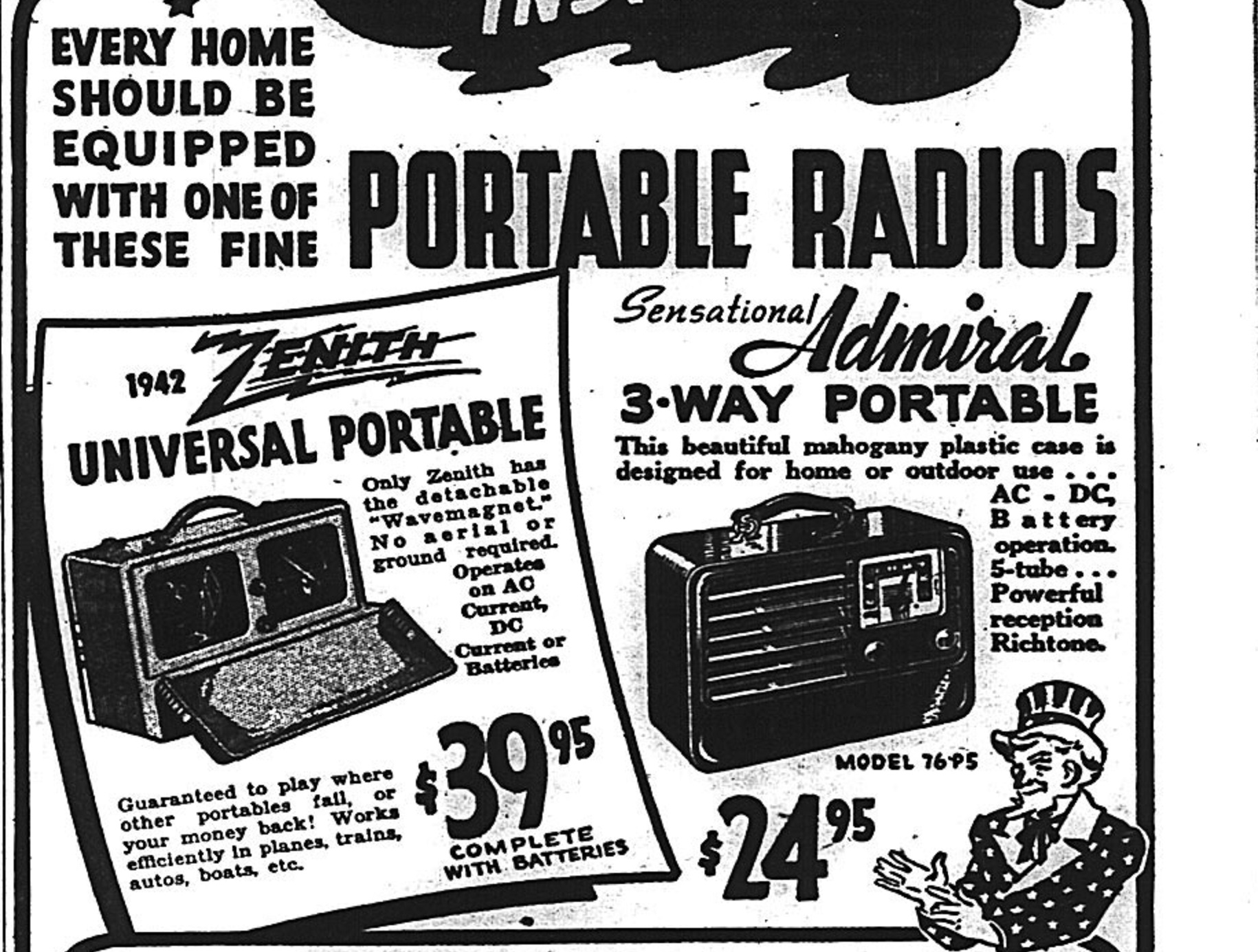 Detroit Jewish News March 27, 1942 issue featuring Boyer's Haunted Shacks advertisements for radios.
