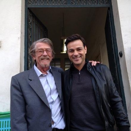 Actors John Hurt and Aki Avni on the set of 'The Damascus Cover' in Morocco (Courtesy Howard Kaplan)