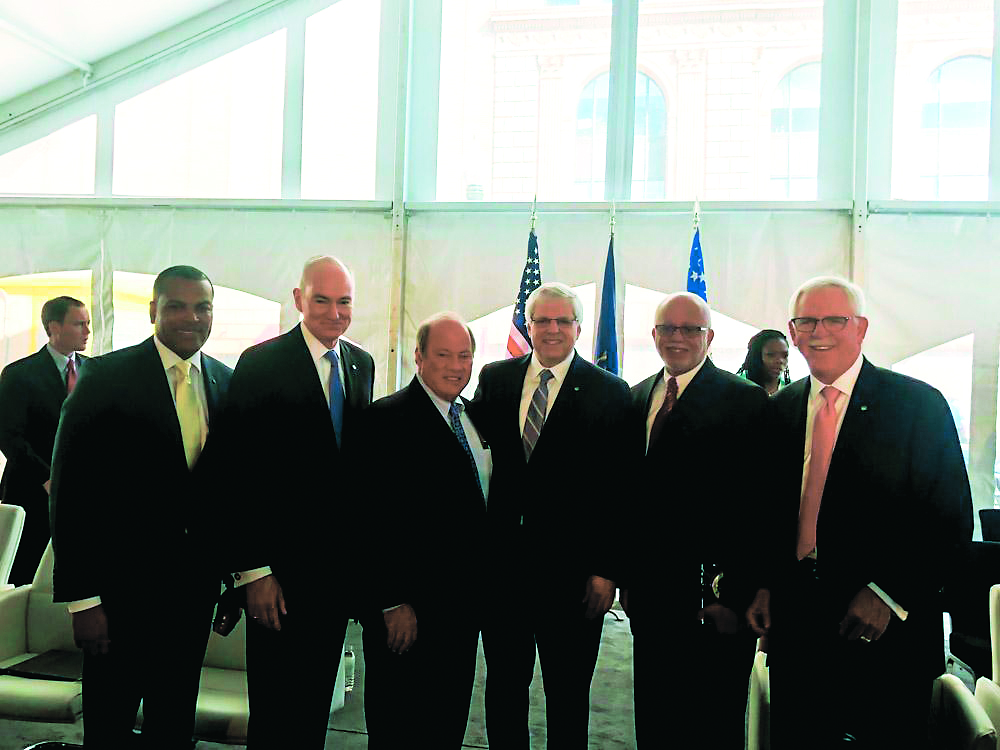 Donnell White, Chemical Bank's director of strategic partnerships and chief diversity officer; Tom Shafer, president and CEO of Chemical Bank; Mike Duggan, Detroit mayor; Gary Torgow, chairman, Chemical Financial Corporation; Warren Evans, Wayne County executive; and David Provost, president and CEO, Chemical Financial Corporation