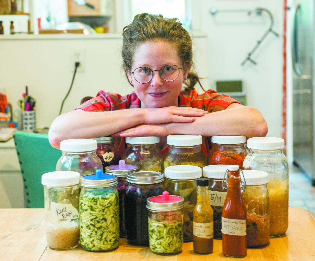 Hannah Lewis with an assortment of her own fermented veggies and sauces
