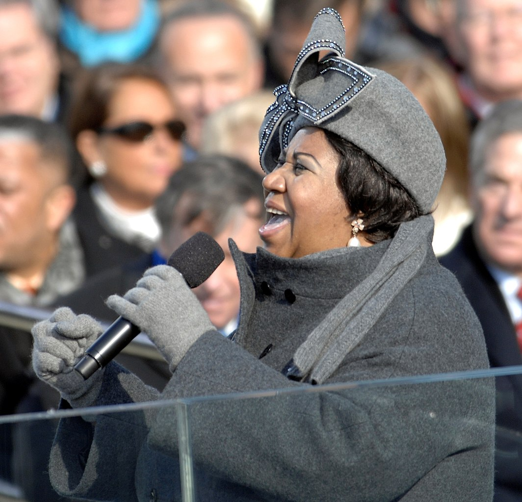 "Aretha Franklin sings ""My Country 'Tis Of Thee"" at the U.S. Capitol during the first inauguration of President Barack Obama in Washington, D.C., Jan. 20, 2009."