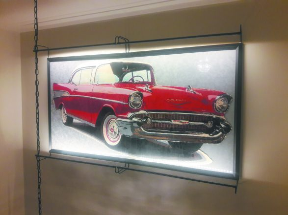Ryan Gertner created a stunning mosaic of a 1957 red Chevy Bel Air.