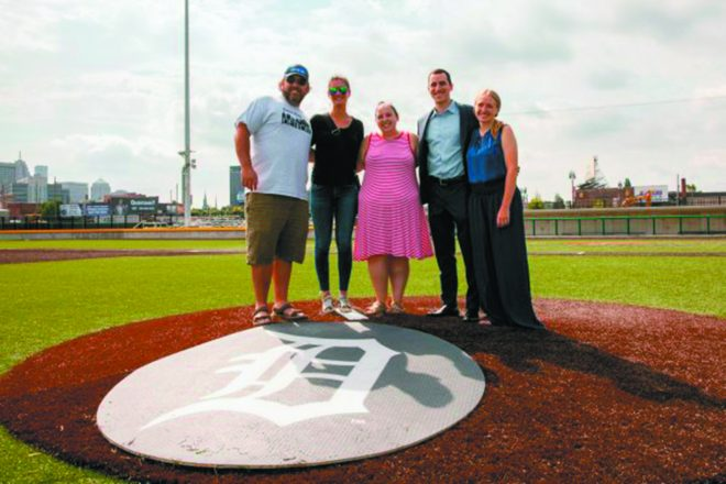 "review of the ""Field of Dreams"" at the Corner Stadium: Justin Jacobs (ComePlayDetroit) Lauren Rubin (NEXTGen Detroit), Abby Rubin and Zack Slabotsky (co-chairs) and Tori Ramataboee, (ComePlayDetroit)."
