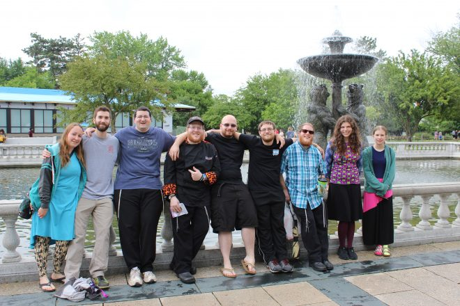 A group photo from HMD/ChabaD in the D's Zooish & Jewish event at the Detroit Zoo