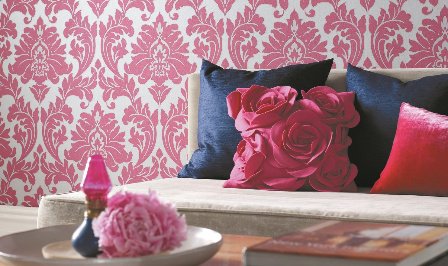 Create an accent wall with removeable wallpaper, like Graham & Brown's damask design from Home Depot.