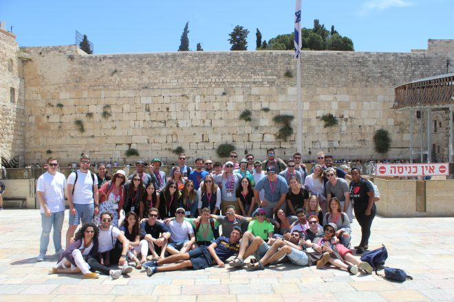 MSU and HCAM Birthright Israel participants in front of the Western Wall