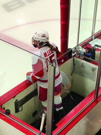 Morgan Leib had to watch the game from the penalty box while her Detroit teammates killed off a hooking call against her.