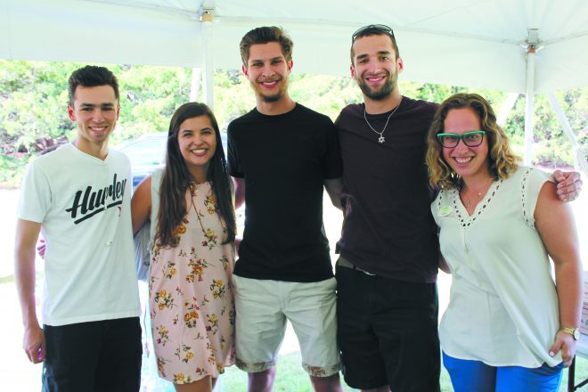 Enjoying MSU Hillel's Picnic at the Rock during MSU Welcome Week: Tyer Weil and Annie Kaplan, both of Danville, Calif.; Christopher Back, Chicago; Stephen Lipshaw, West Bloomfield; and Becca Walker, East Lansing.