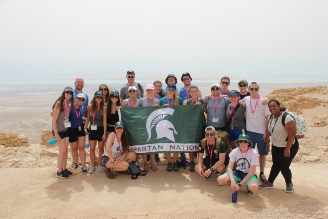 MSU and HCAM Birthright Israel participants on the summit of Masada