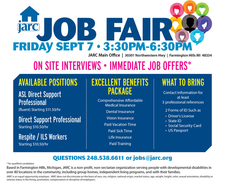 JARC job fair hiring event on sept. 7, 2018.