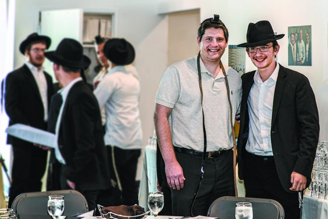 Evan Kaploe with Yossi Spalter, 16, of Westin, Fla.