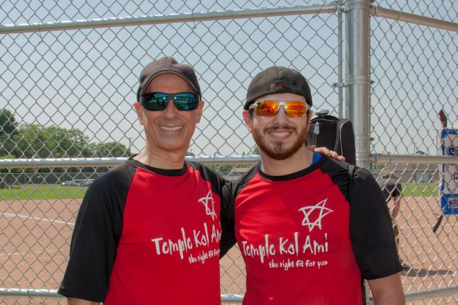 The Inter-Congregational Men's Club Summer Softball League is filled with father-son combinations. Paul Gross and his son Jared Gross are on the Temple Kol Ami/B'nai Israel Synagogue team.
