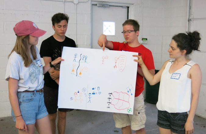Counselors from Summer in the City present their nonverbal responses drawings to the group.