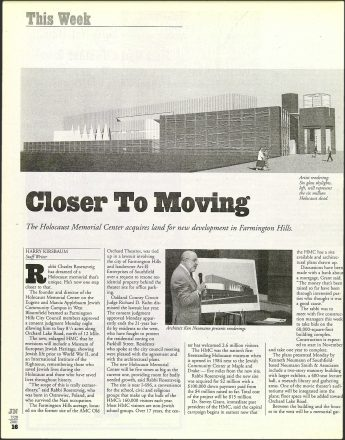 Detroit Jewish News article from July 17, 2011 about the new land for the Holocaust Memorial Center HMC