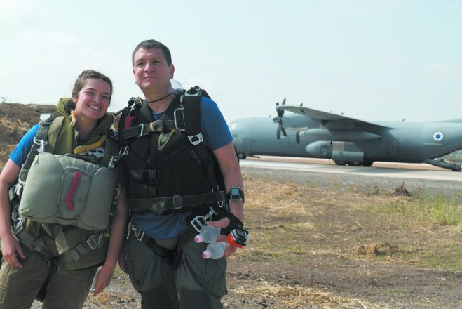 An IDF parachuting instructor poses with her father, Maj. Gen. Aharon Haliva, the head of IDF Operations, before a jump on April 19, 2018. She is a member of the IDF's Paratroopers Brigade.
