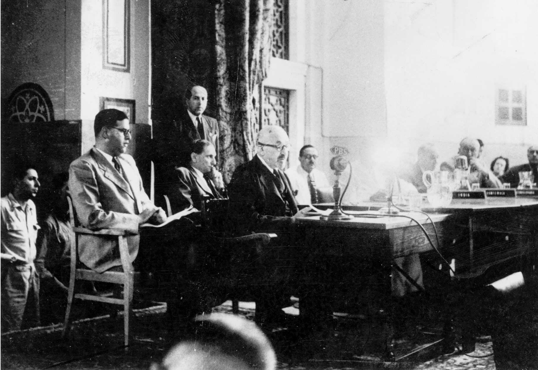The photo shows Chaim Weizmann giving his testimony to UNSCOP on July 8, 1947