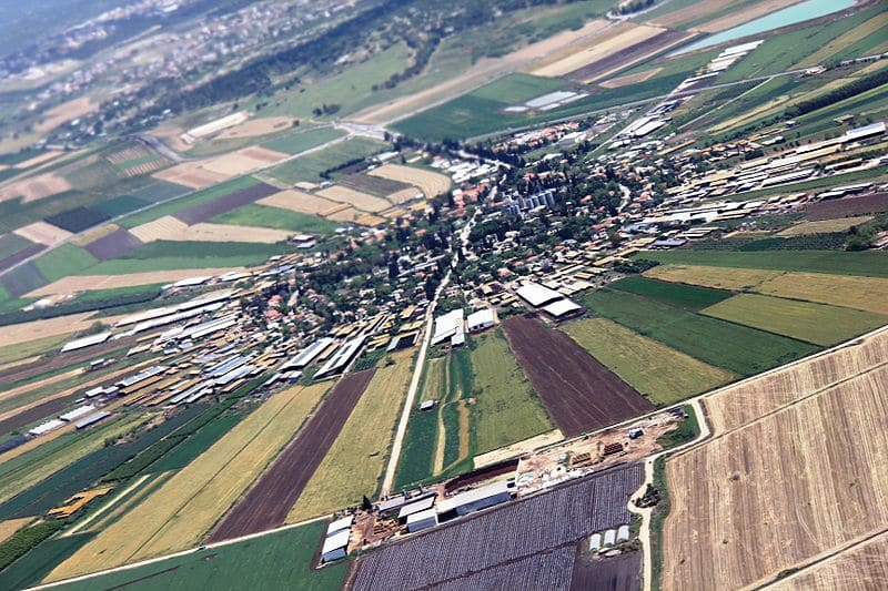 An aerial view of Moshav Nahalal