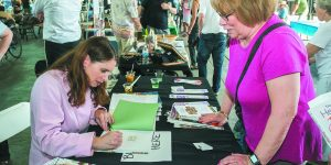 Shoyer signs her cookbook for JoAnne Levy of Troy.
