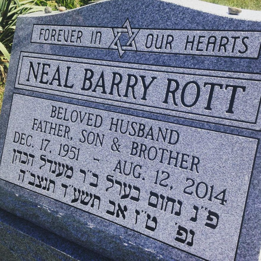 tombstone for Neal Barry Rott, Leslie Rott's dad.