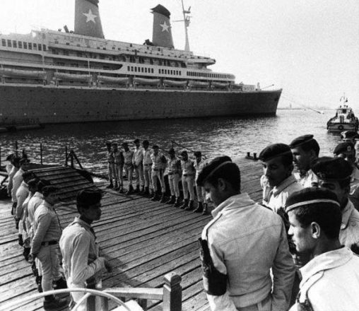 Achille Lauro cruise ship arrives at Port Said to waiting soldiers after being hijacked by members of the Palestinian Liberation Front.