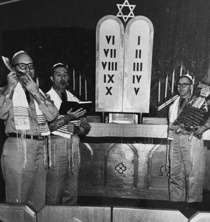 U.S. Army Lt. Col. Rabbi Allan Blustein, left, blows shofar at a service during the 1960s in Europe.