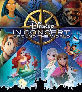 THE ANN ARBOR SYMPHONY ORCHESTRA PRESENTS DISNEY IN CONCERT: AROUND THE WORLD™ poster from the event featuring various Disney characters including Pocahantas, Peter Pan, Ariel, Anna, Elsa, Olaf, Jasmine, Aladdin, the Genie, and the pirate skull from Pirates of the Caribbean.