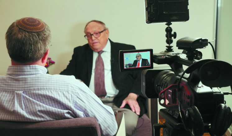 Aryeh Halivni, Toldot Yisrael executive director, interviews Ernie Goldberger of Los Angeles about his service in the Palmach.
