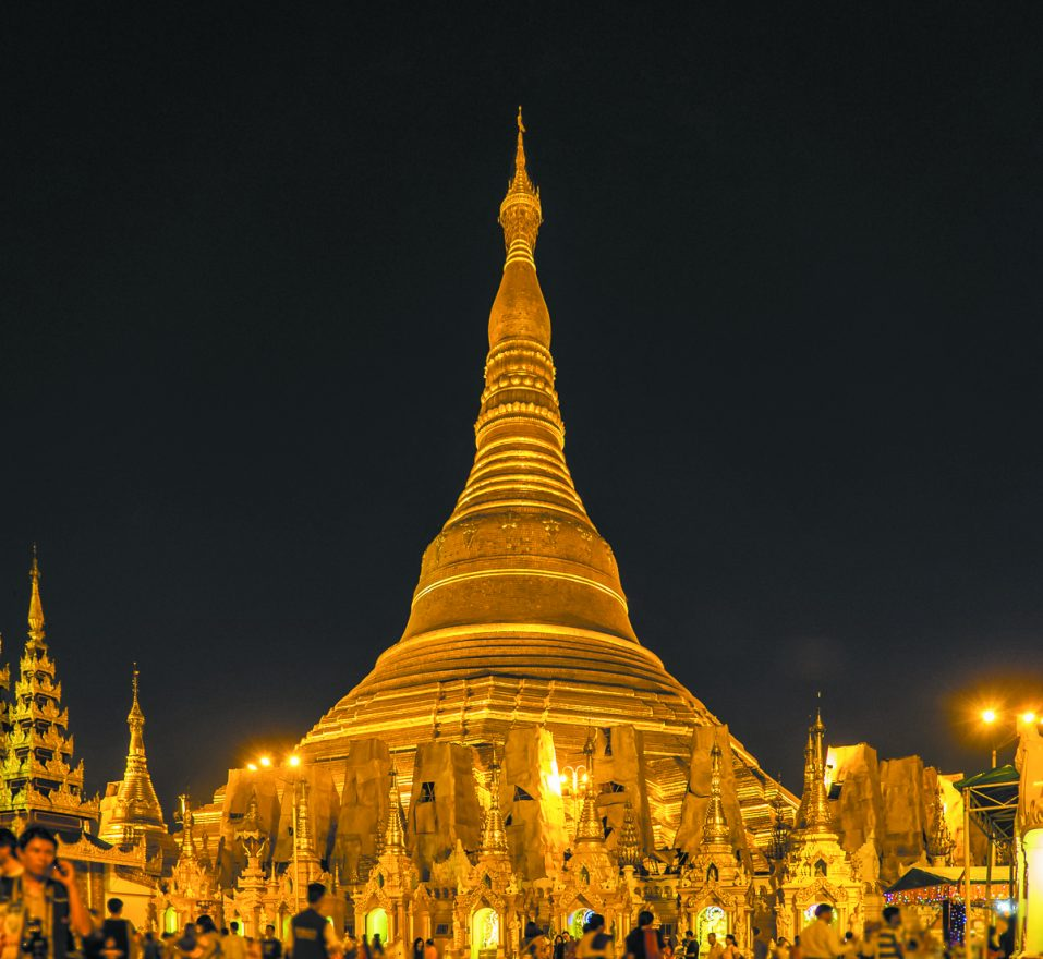 One of the holiest Buddhist shrines, the Shwedagon Pagoda of Yangon is said to be dated to the time of Buddha. It is covered with tons of glistening gold and its spire is adorned with thousands of sparkling diamonds. Built on a small hill, the Shwedagon dominates the entire city. It seems to overlook everything and explain everything about Burma.