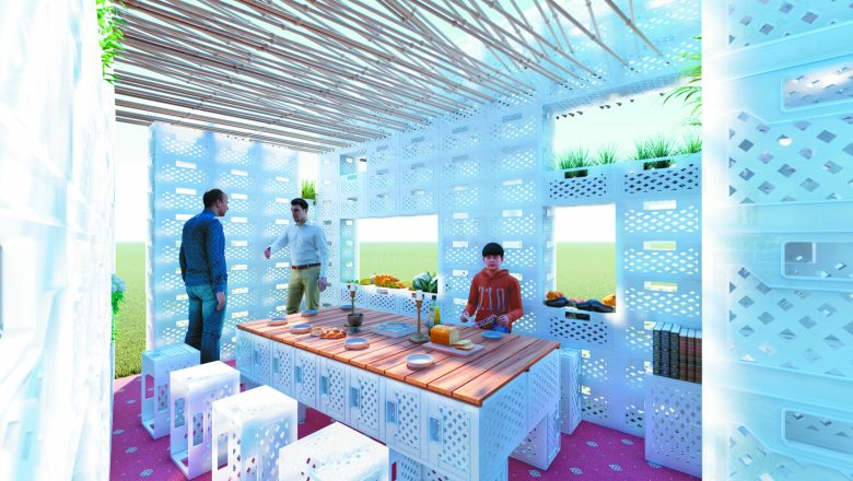 """The Shuk-Kah"" by Gamma Architects, Paul Bassano, Gibraltar: Recycled plastic vegetable crates form the structure and furniture in this sukkah that recall fruit displays in markets during harvest time; Part of Sukkah x Detroit"