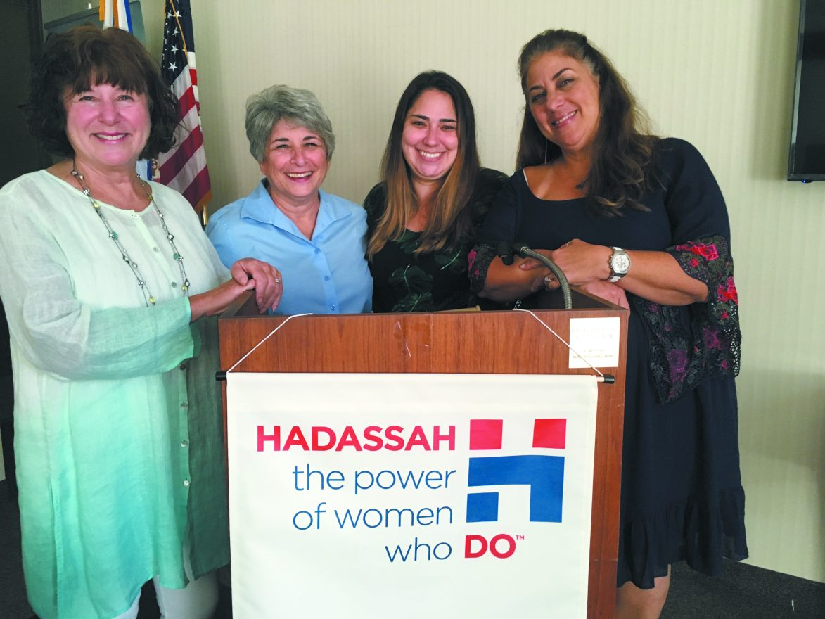 Hadassah President Carol Ogusky with Gail Katz, new administrative assistant Emily Morgan and Randi Richmond, new senior manager for member outreach and community engagement.