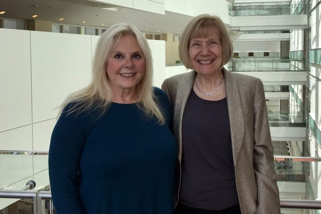 Dr. Feldman (right) with Charlene Handleman (left).