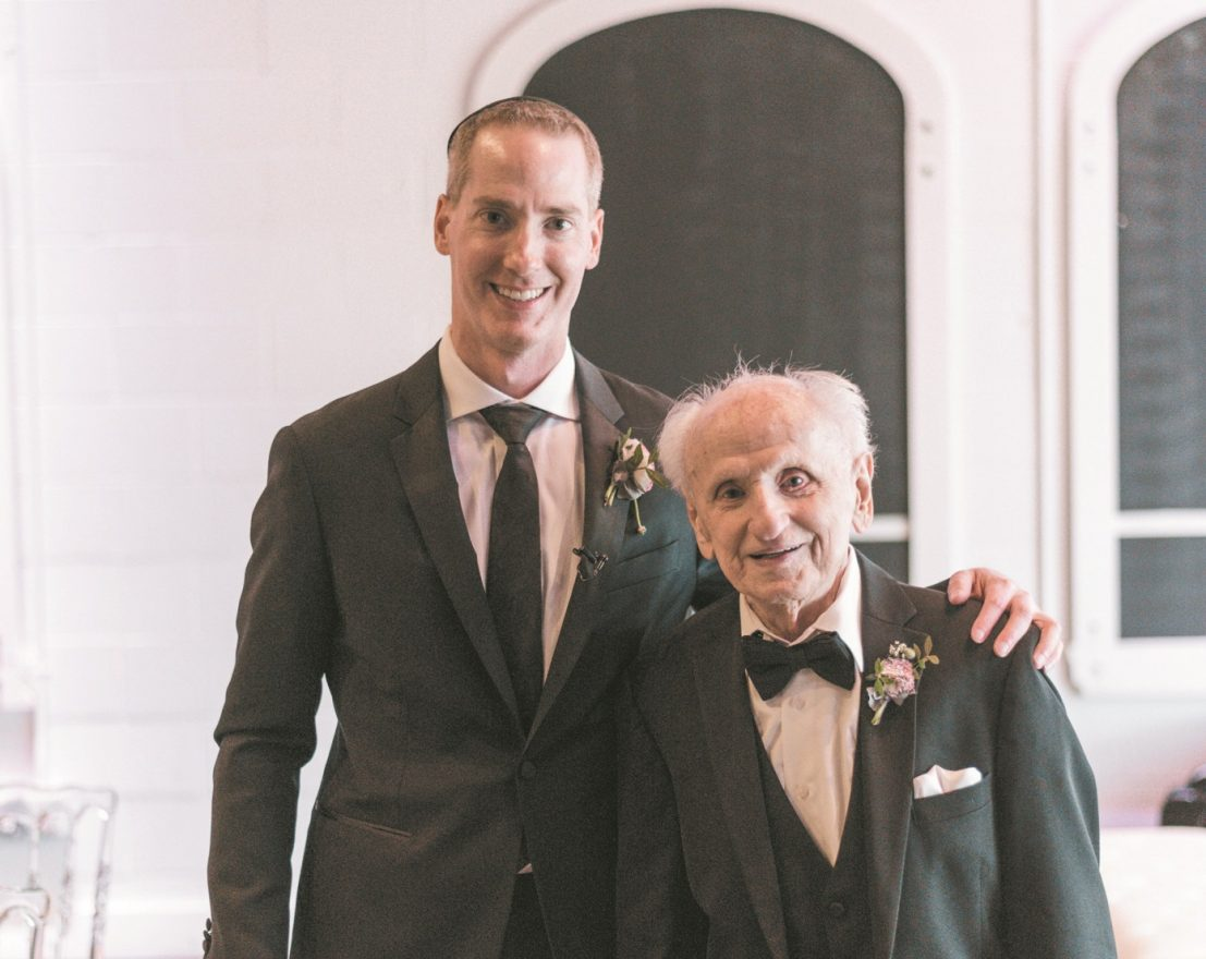 Grandson Marc Kestenberg at his May 17 wedding in Toronto with his grandfather Harry Chil Zborowski