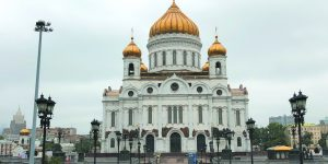 The Cathedral of Christ the Savior, a Russian Orthodox Cathedral in Moscow (the original church was destroyed on the order of Joseph Stalin in 1931, then the property served as the world's largest open-air swimming pool before the new church was rebuilt in the 1990s