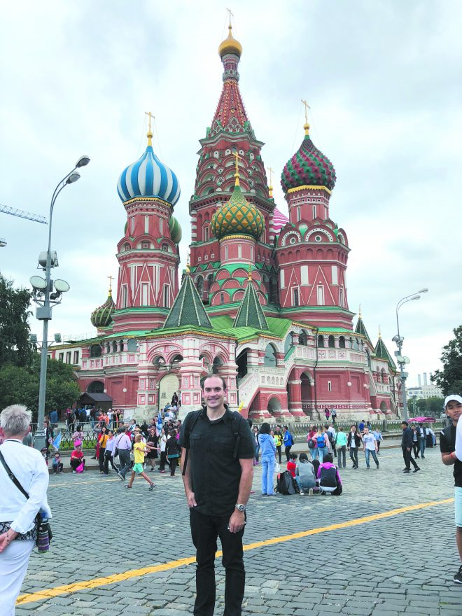 Jonathan H. Schwartz, pictured in front of Saint Basil's Cathedral, located in Moscow's famous Red Square.