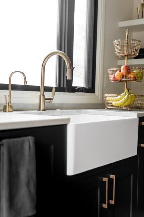A farmhouse-inspired apron-front sink.