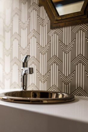 A geometric design in the powder room.