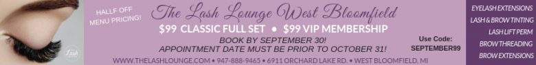 Lash Lounge banner ad showing information on a reduced price full set of lashes or membership if you use the code SEPTEMBER99 before October 31, 2018