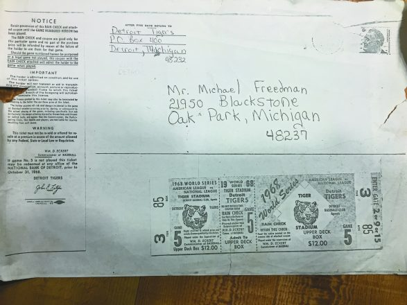 The photocopy of the 1968 envelope and ticket.