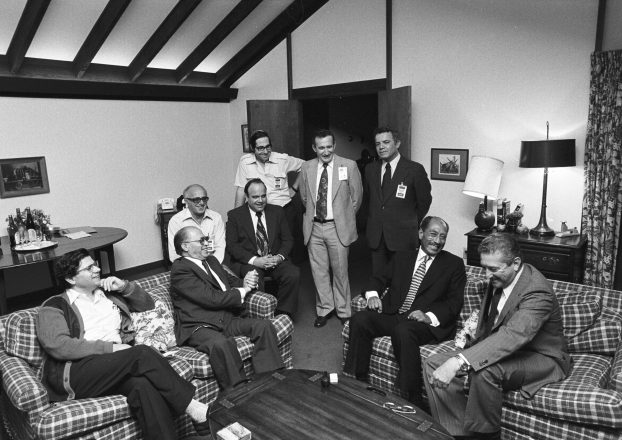 Begin and Sadat and their delegations at Camp David