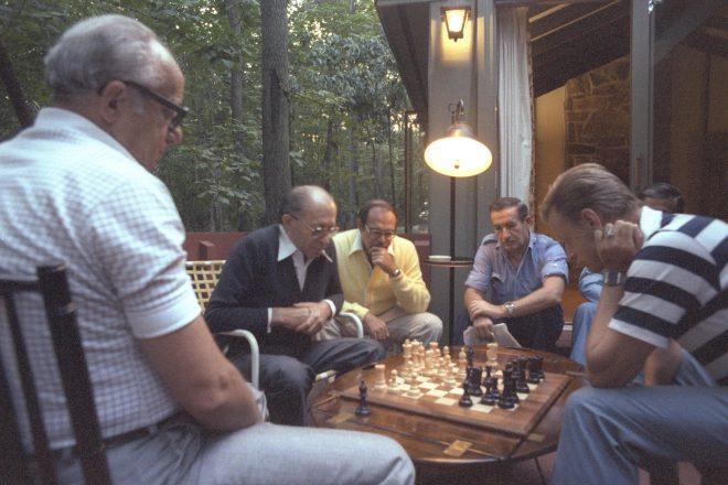 Israeli Prime Minister Menachem Begin and U.S. National Security Adviser Zbigniew Brzezinski play chess