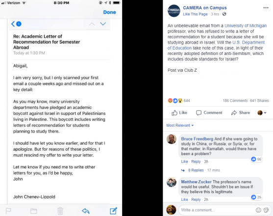 Screenshot of email from University of Michigan professor John Cheney-Lippold refusing to write a recommendation letter for a student studying abroad in Israel and the original Facebook post from CAMERA on Campus.