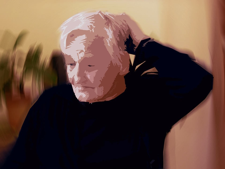illustrated image of a dependent older woman looking off into the distance and holding her head.
