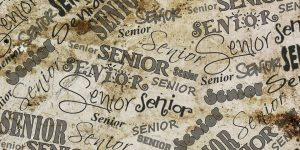 """the word """"senior"""" written over and over in different fonts on something that is meant to look like a desk."""