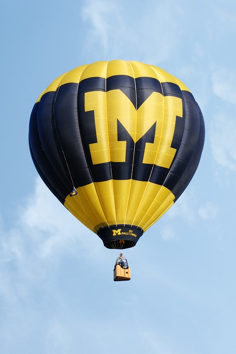 University of Michigan block M on a hot air balloon.